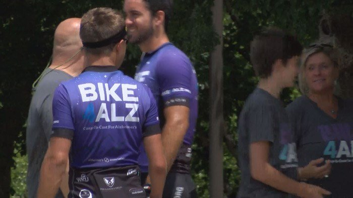 A group of Western Kentucky University students is currently cycling coast-to-coast raising money and awareness for Alzheimer's. The team, Bike4Alz, stopped at Waterfront Park on Saturday. (Source: Todd Hoyer/WAVE 3 News)