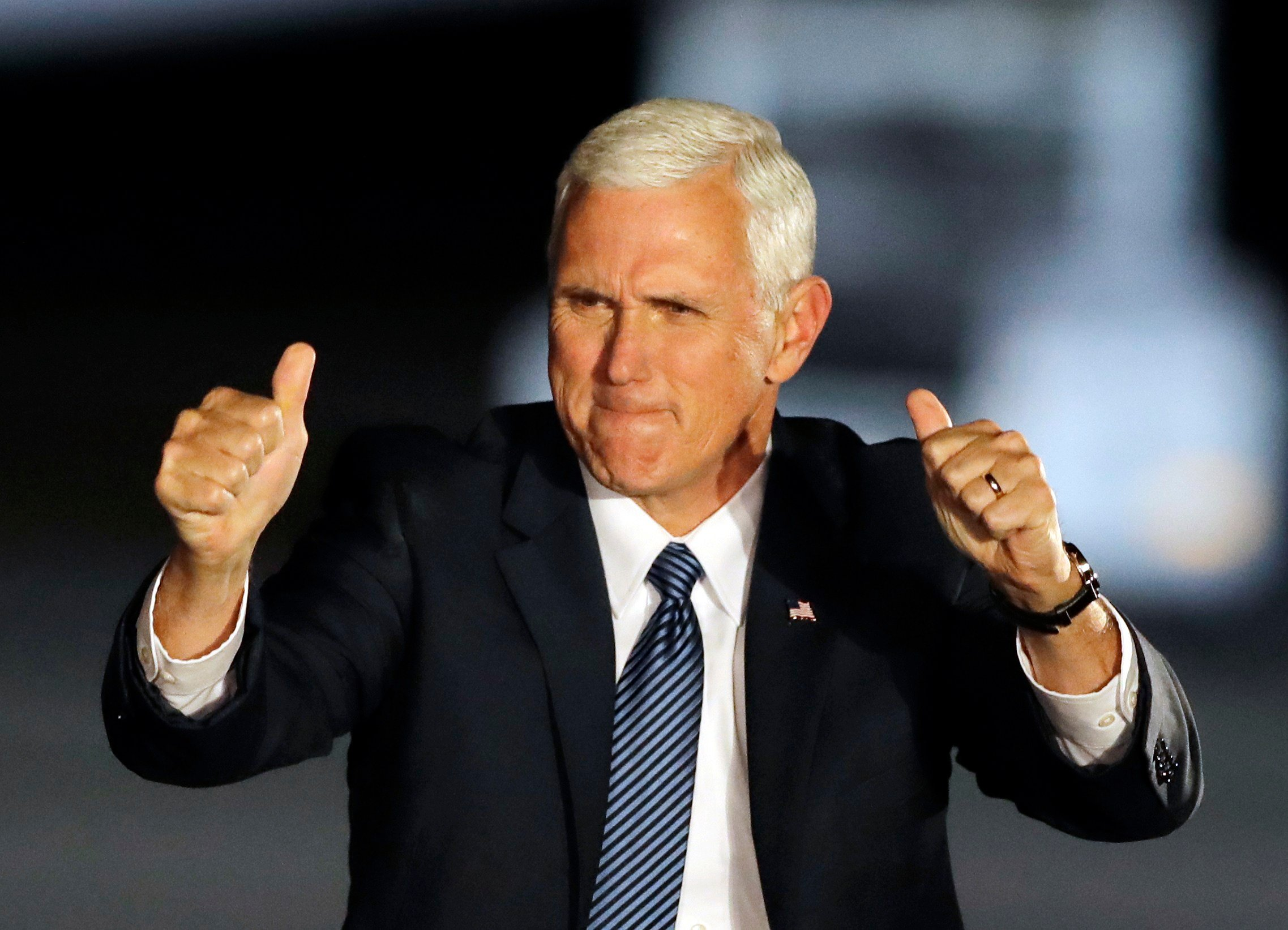 Vice President-elect Mike Pence reacts after speaking at a public rally Thursday, Nov. 10, 2016, in Indianapolis. (AP Photo/Darron Cummings)