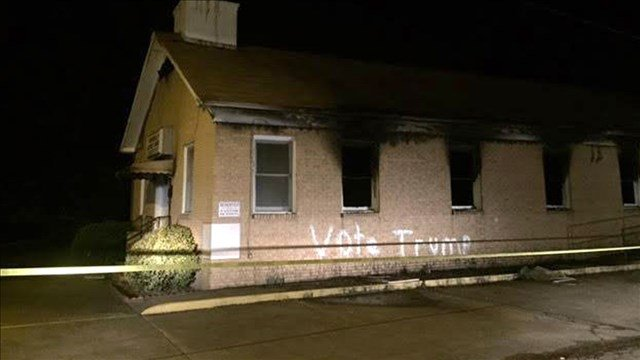 MS church member faces charges in 'Vote Trump' arson