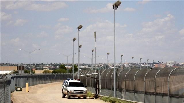 The U.S.–Mexico border fence near El Paso Texas