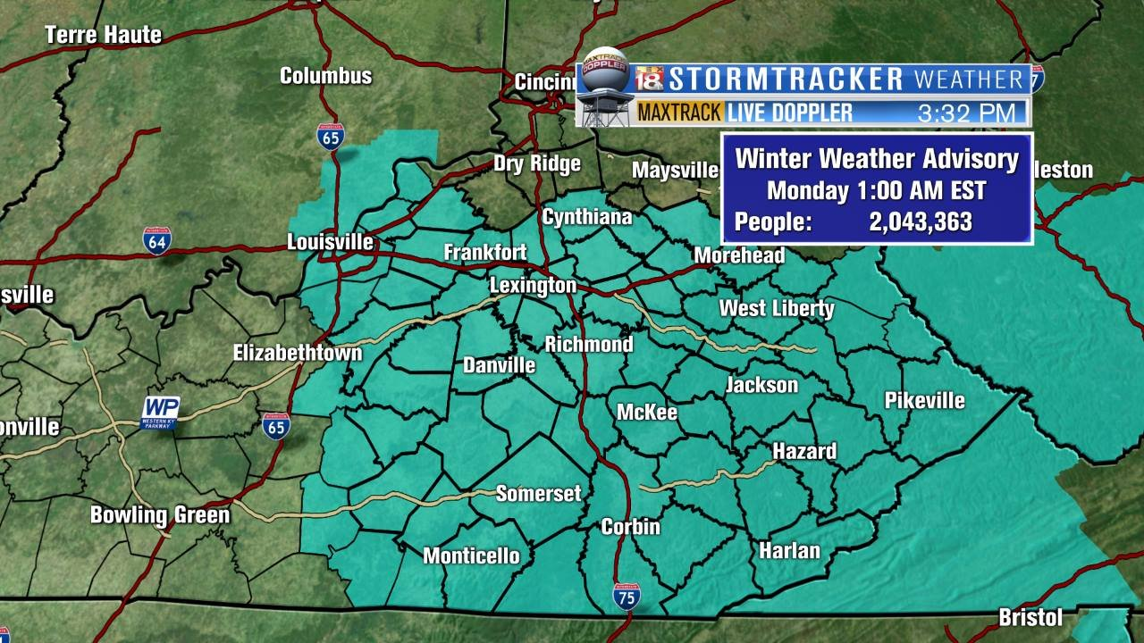 Winter weather advisory issued for upper Cumberland Plateau