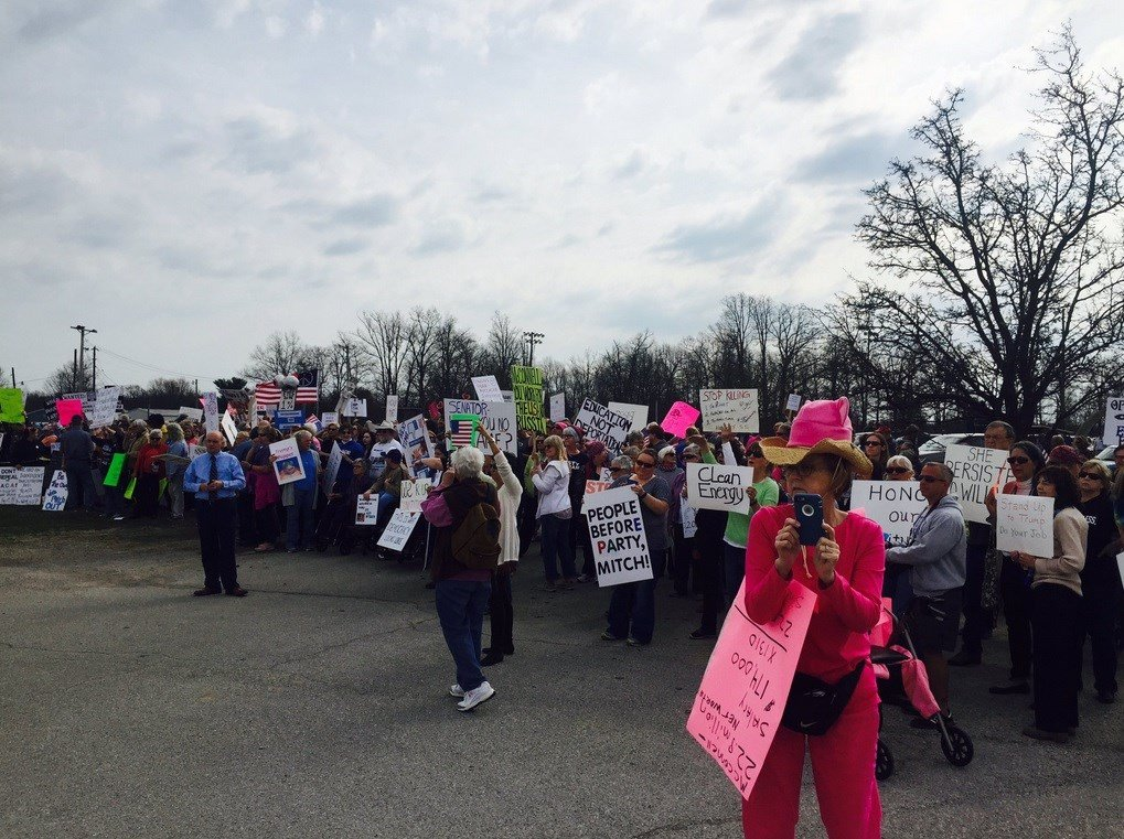 Hundreds Of Protesters Hound McConnell In Anderson County