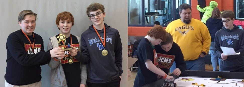 Jessie Clark Middle School Robotics Team- Noah Sprout, Isaac Recktenwald, Colin Farmer, and Wes Baskette