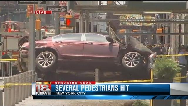 Vehicle  ploughs into pedestrians in Times Square