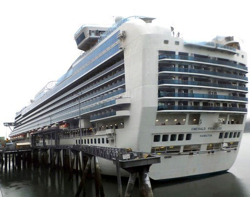 (AP Photo/Becky Bohrer). The Emerald Princess cruise ship is docked in Juneau, Alaska, Wednesday, July 26, 2017. The FBI is investigating the domestic dispute death of a Utah woman on board the ship, which was traveling in U.S. waters outside Alaska.