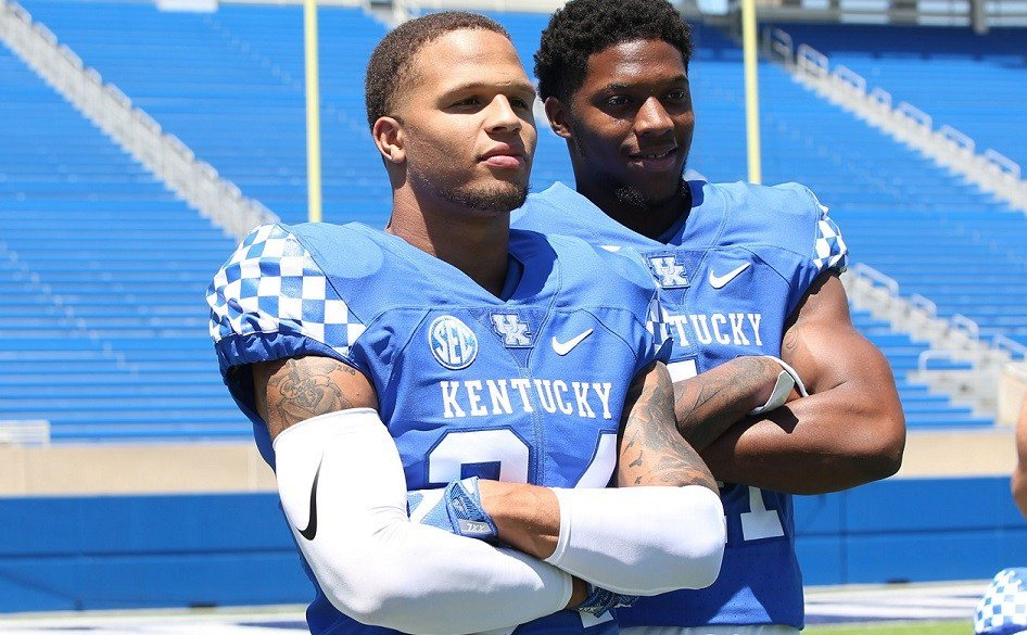 Josh Allen, right, has become a leader for UK's defense. (Vicky Graff Photo)