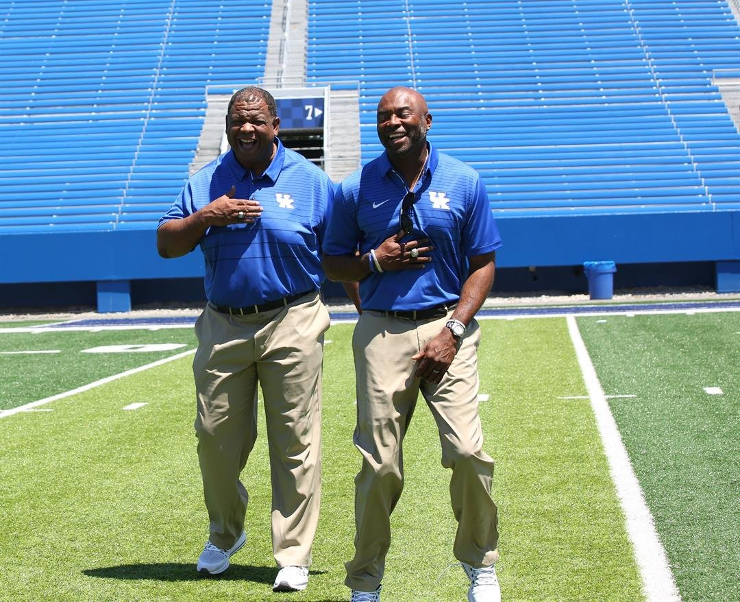 "Vince Marrow, left, says he was a better athlete than Lamar Thomas or any other UK assistant coach ""by far."" (Vicky Graff Photo)"