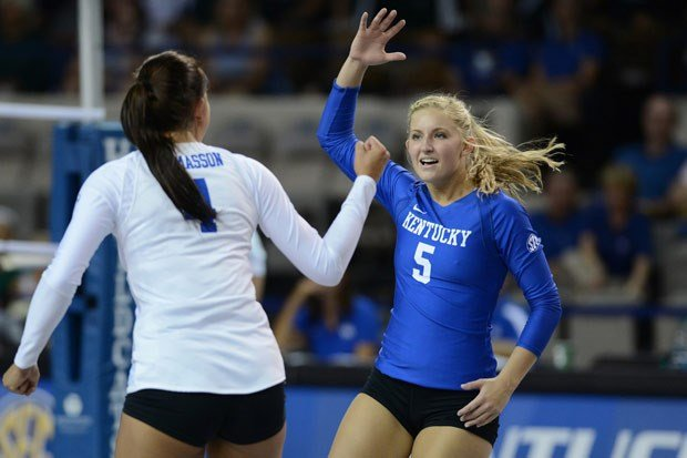 Ashley Dusek (5) may not be able to whistle, but there's not much else she can't do on the volleyball court. (UK Athletics Photo)