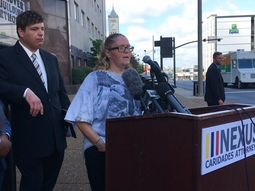 (AP Photo/Jonathan Mattise). Christel Ward speaks at a news conference Thursday, Aug. 17, 2017, outside of the federal courthouse in Nashville, Tenn