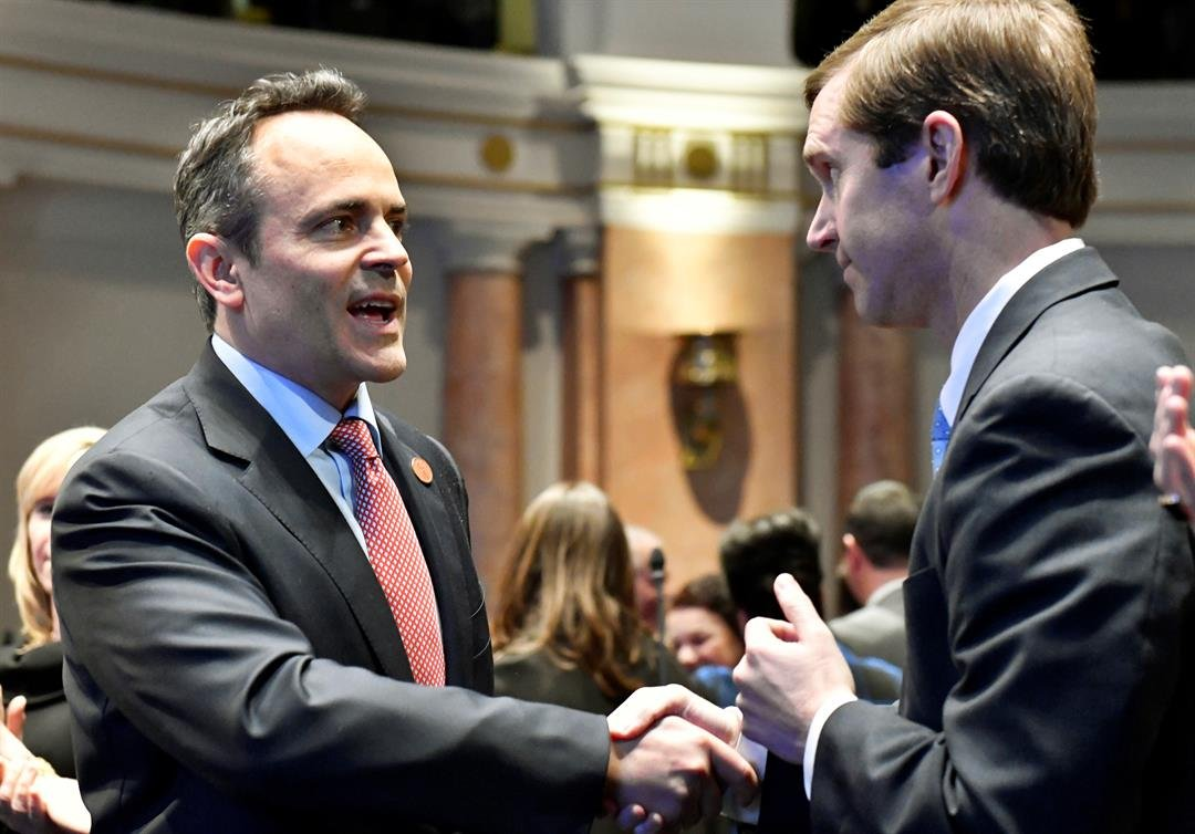 (AP Photo/Timothy D. Easley, File)Kentucky Gov. Matt Bevin, left, shakes hands with Kentucky Attorney General Andy Beshear before the governor's State of the Commonwealth address in Frankfort, Ky.