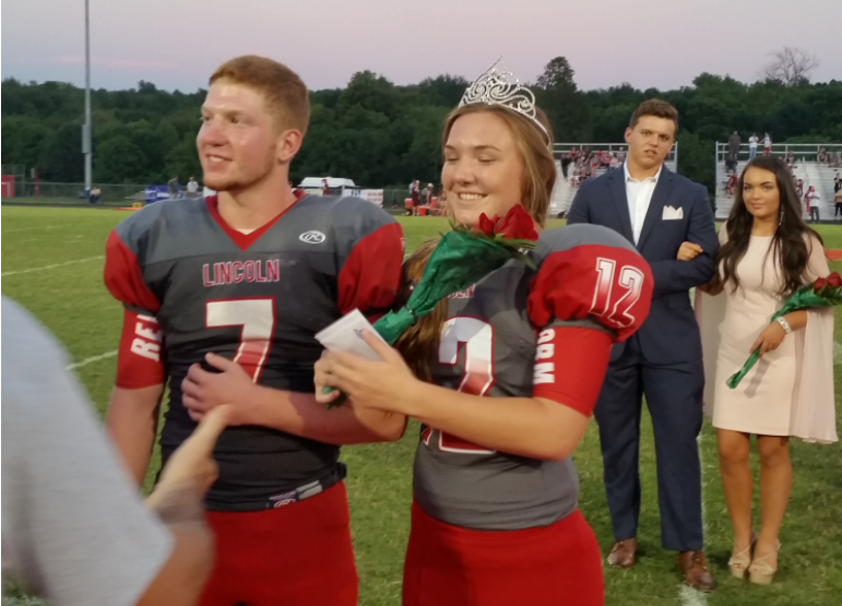 Emma Kaiser was all smiles when she was crowned queen at the PBK Bank/WPBK-FM Death Valley Bowl. (Larry Vaught Photo)