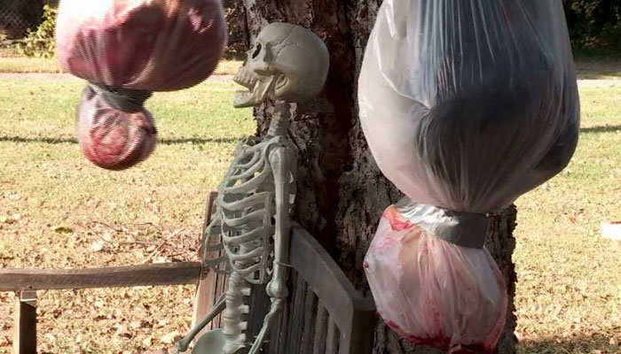 A man's Halloween displays are attracting some glares in an Oklahoma neighborhood. (Source: KFOR/Viewer handout/CNN)