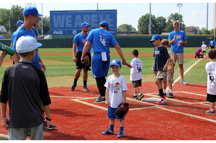 Jaxon Russell, a participant in Saturday's No Limits Camp, gets ready for batting practice.