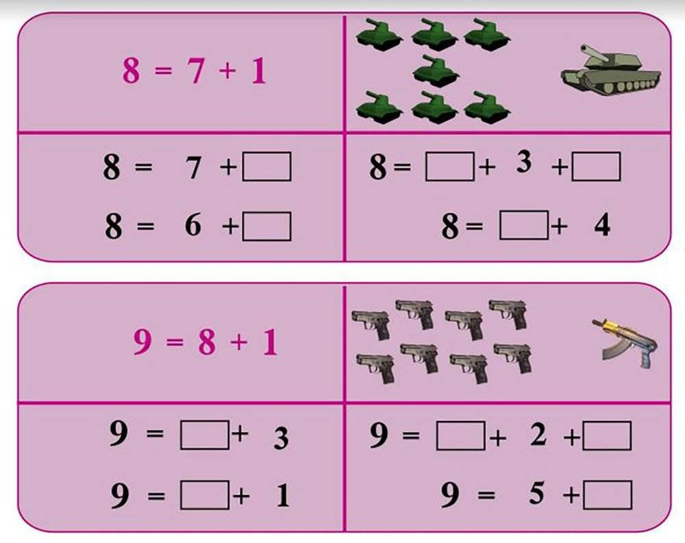 A diagram shows images of weapons that were used to help teach children basic arithmetic in an ISIS schoolbook. NBC News