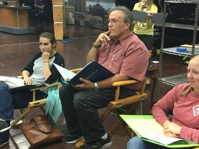 "Director Doug Smart sits during a rehearsal of ""Friends Like You."""
