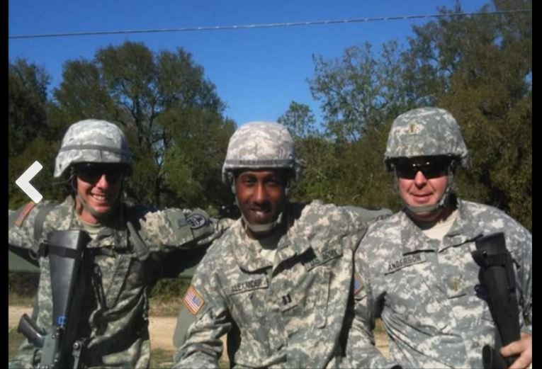 Ahmad Alexander and two fellow service members