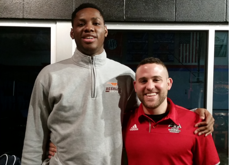 Charles Bassey and Aspire Academy coach Jeremy Kipness (Larry Vaught Photo)