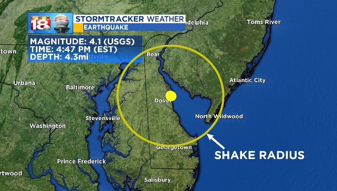 Moderate quake shakes the East Coast