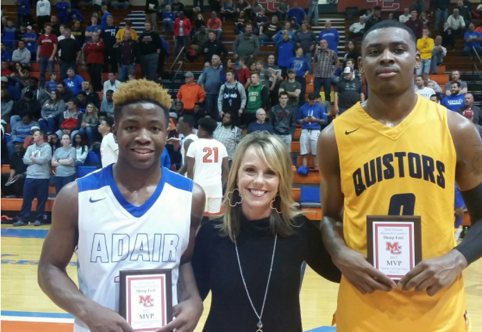 D.J. Jeffries, right, with Adair County's Zion Harmon With Hoopfest MVP awards they got from Angie Fisk. (Larry Vaught Photo)