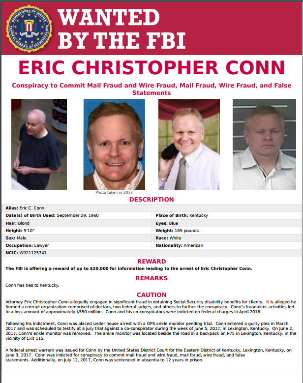 Federal Bureau of Investigation  announces arrest of fugitive Eric C. Conn in Honduras