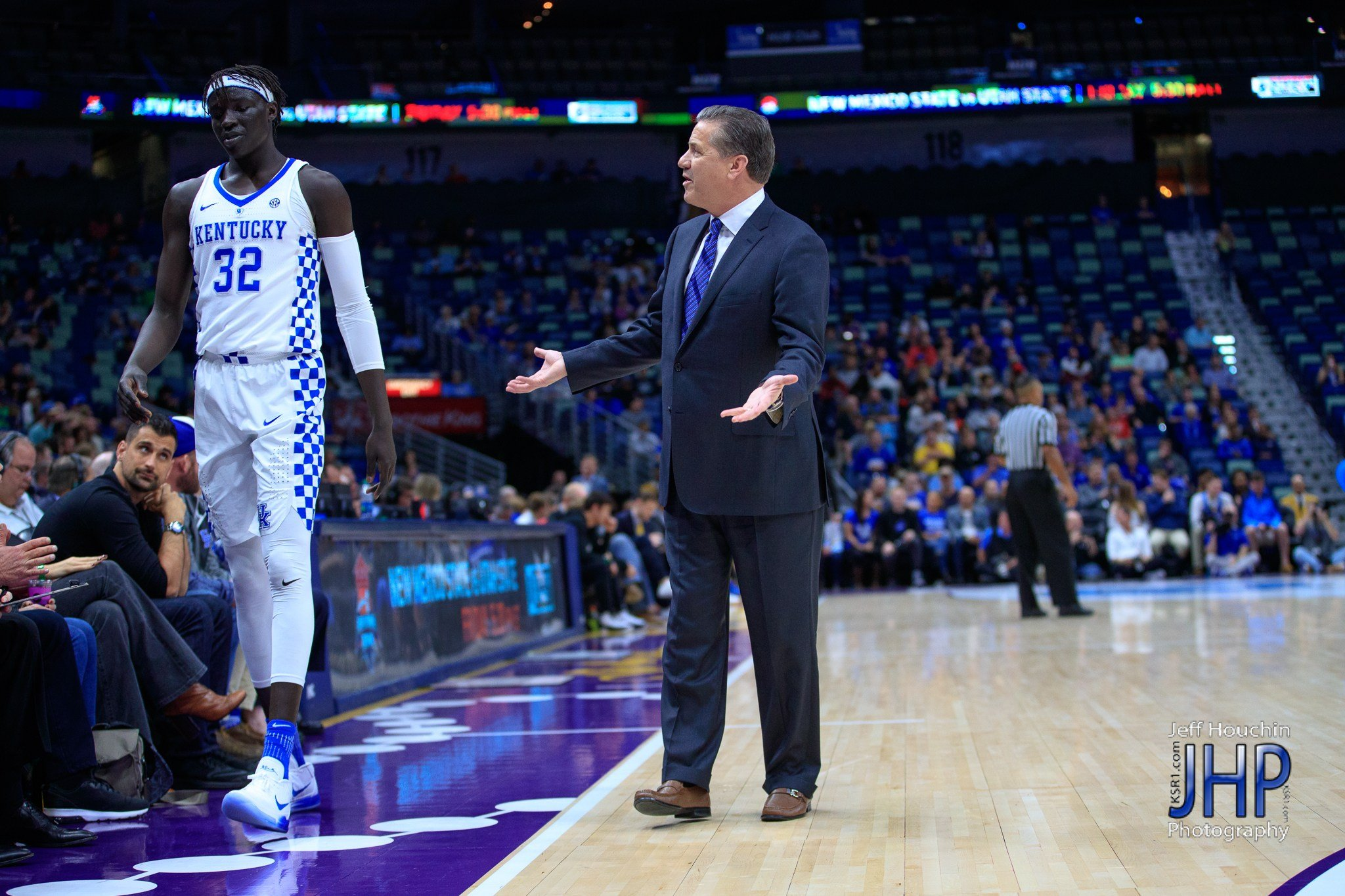 Kentucky coach John Calipari – and UK fans – have plenty of questions for Wenyen Gabriel and his teammates after Saturday's loss. But Calipari has shown he can turn regular-season losses into NCAA Tournament success. (Jeff Houchin Photo)