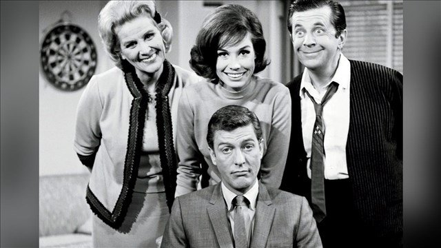 Cast of 'The Dick Van Dyke Show' Rose Marie, Mary Tyler Moore, Morey Amsterdam, and Dick Van Dyke., Photo Date: 1961 (MGN/CBS)