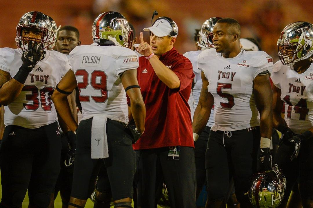 Neal Brown believes Jon Sumrall is one of the nation's top assistant coaches. (Troy Athletics Photo)