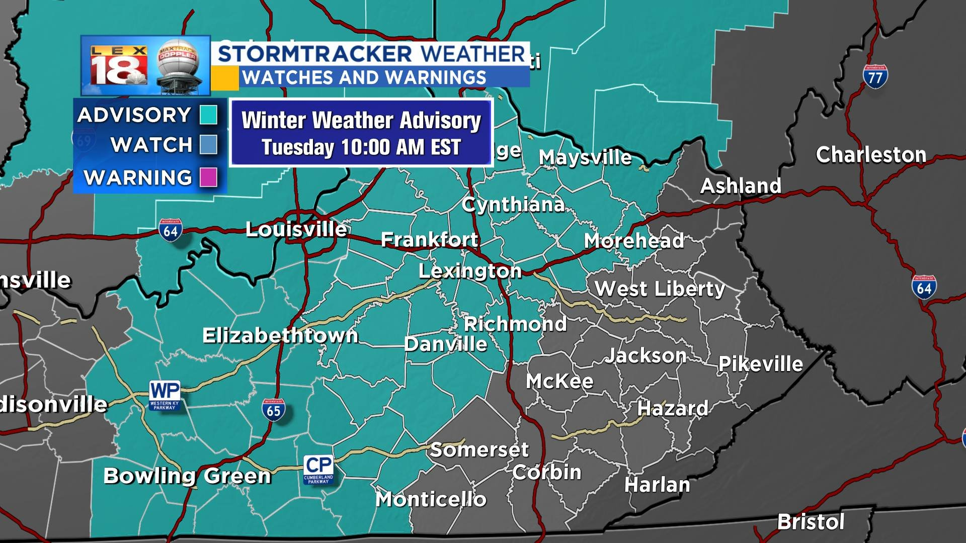 Winter weather advisory issued for Tuesday