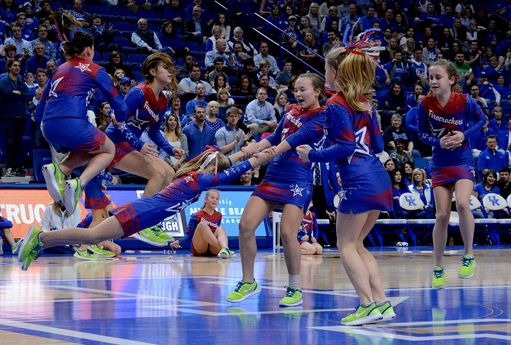 Coach Lynn Kelly says the Firecrackers enjoy performing in Rupp Arena more than any other venue. (Gary Moyers Photo)