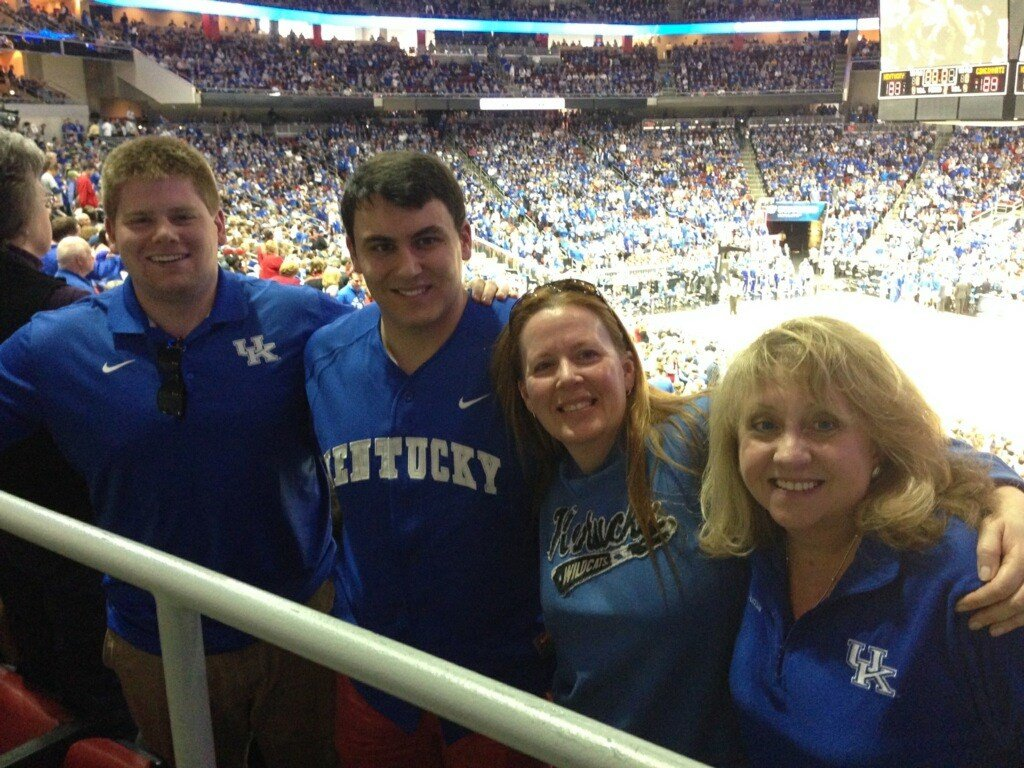 Keri Scaggs and her nephew with her friends from Alaska, Kendra and Jason Bowman, in Rupp Arena for the Georgia game on Dec. 31st.