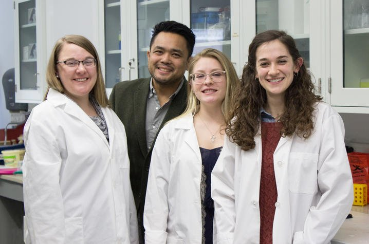 """Wonder Women: Rachel Maggard, Daimen Stolz and Lydia Hager, with their mentor Warren Alilain, helped confirm the presence of a breathing """"ghost network"""" that might help restore breathing function to paraplegics. Photo by Hilary Brown, UKPR"""