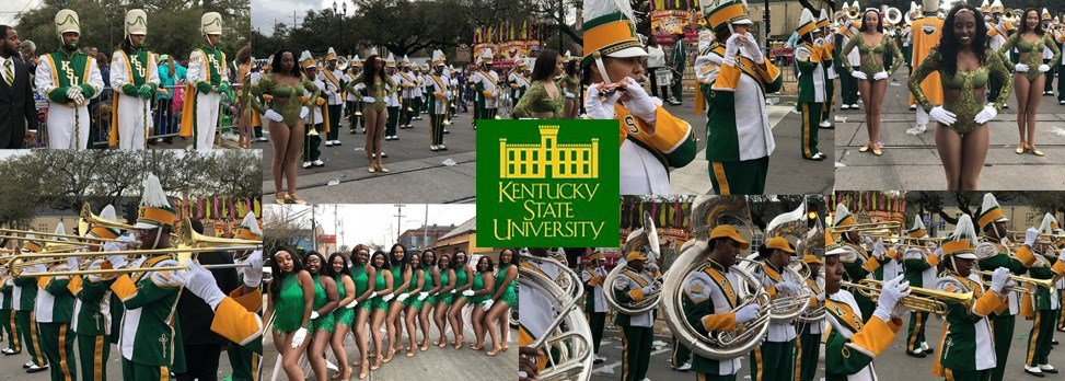 Kentucky State University Marching Band performs in New Orleans during Mardi Gras