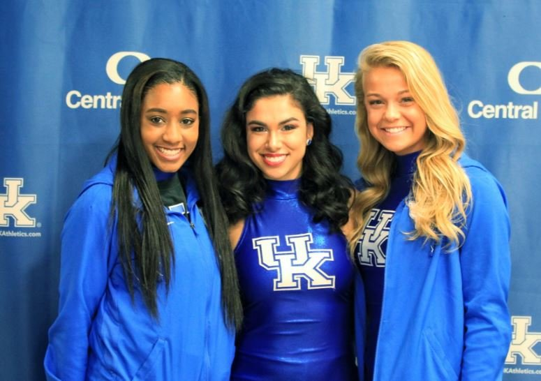 Kentucky dance team members, from left, Kennedy Fails, Savannah Guzman and Casey Sartore were thrilled to have a chance to recently meet the Firecrackers. (Tammie Brown Photo)