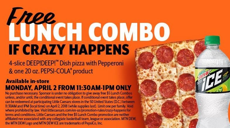 Little Caesars offers free lunch after biggest upset in NCAA hoops history
