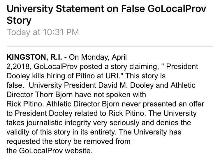 Rhode Island shoots down report saying it pursued Rick Pitino