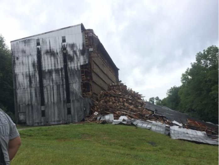 Portion of Kentucky bourbon warehouse holding about 20,000 barrels collapses