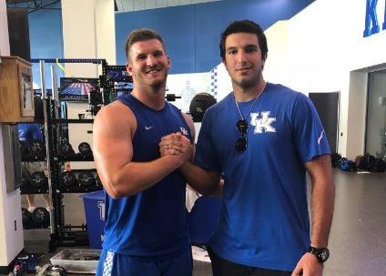 Kentucky commit Nikolas Ognenovic with preseason all-SEC tight end C.J. Conrad on his recruiting visit to UK.