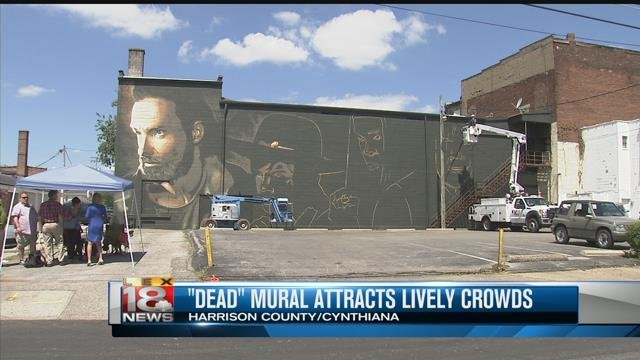 Walking dead mural under construction in cynthiana lex18 for Mural walking dead