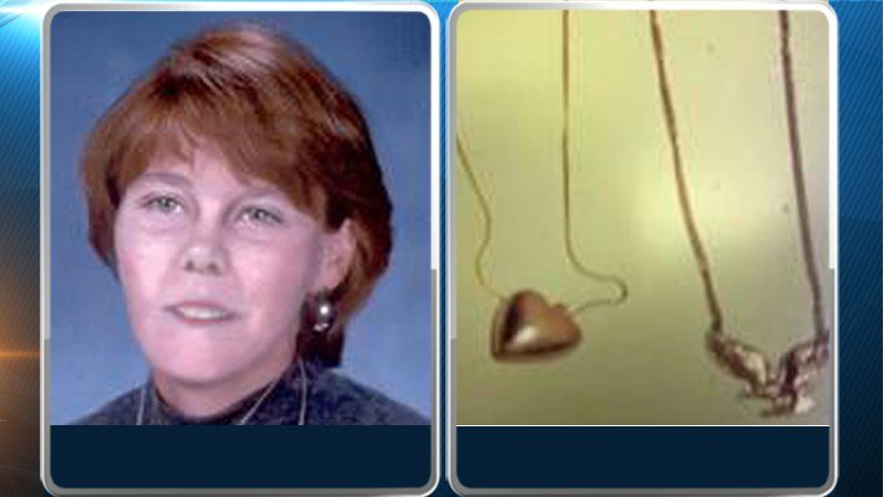 This is an artist's enhancement of the autopsy photo and a photo of the pendants she was wearing.